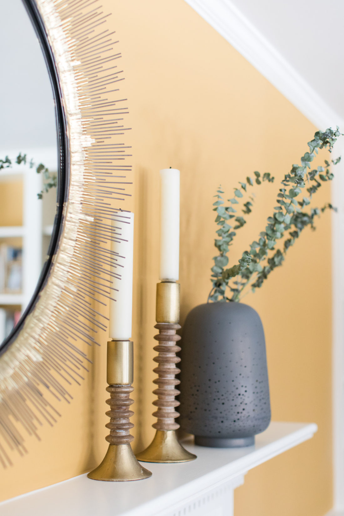 gilded and industrial details on the mantle of Eva Amurri Martino's Connecticut home