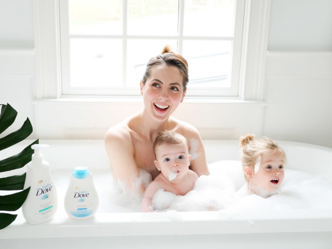 Eva Amurri Martino takes a bubble bath with her two babies and baby dove bath product