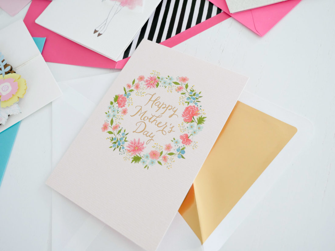 Details of a Hallmark Signature floral mother's day greeting card