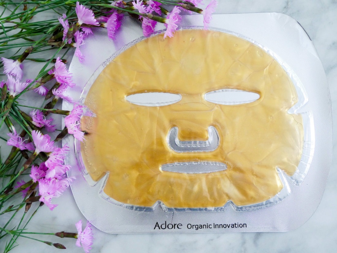 Eva Amurri Martino displays and Adore Organic Innovation Gold Sheet Mask