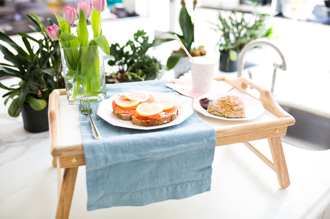 An easy and delicious mother's day breakfast sits on a tray ready for bed!