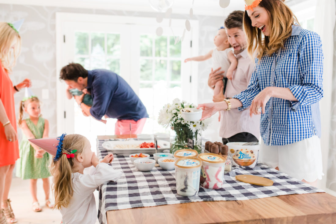 Eva Amurri Martino, her husband, children, and friends gather to celebrate a festive ice cream social with blue bunny ice cream