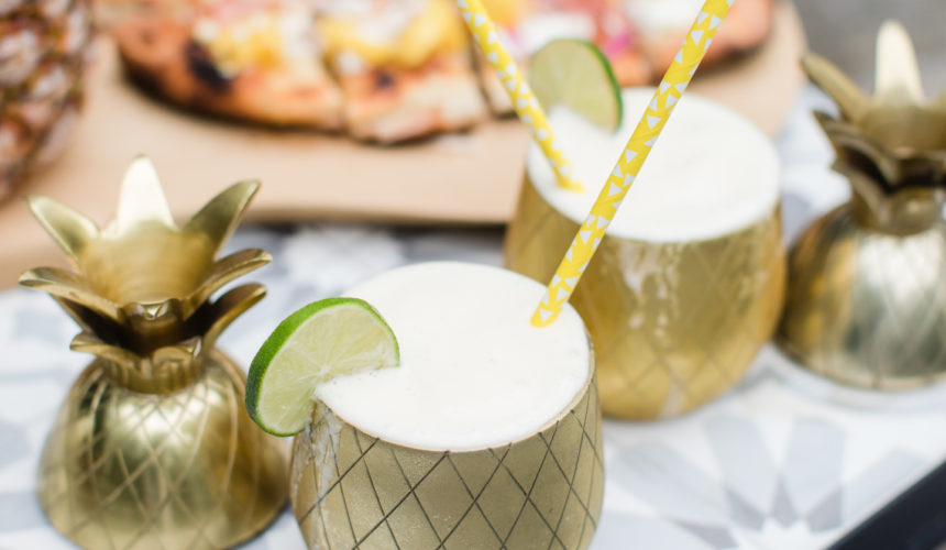 Eva Amurri Martino serves frozen Pineapple daquiris and a grilled hawaiian pizza at a Pineapple-themed happy hour at her Connecticut home