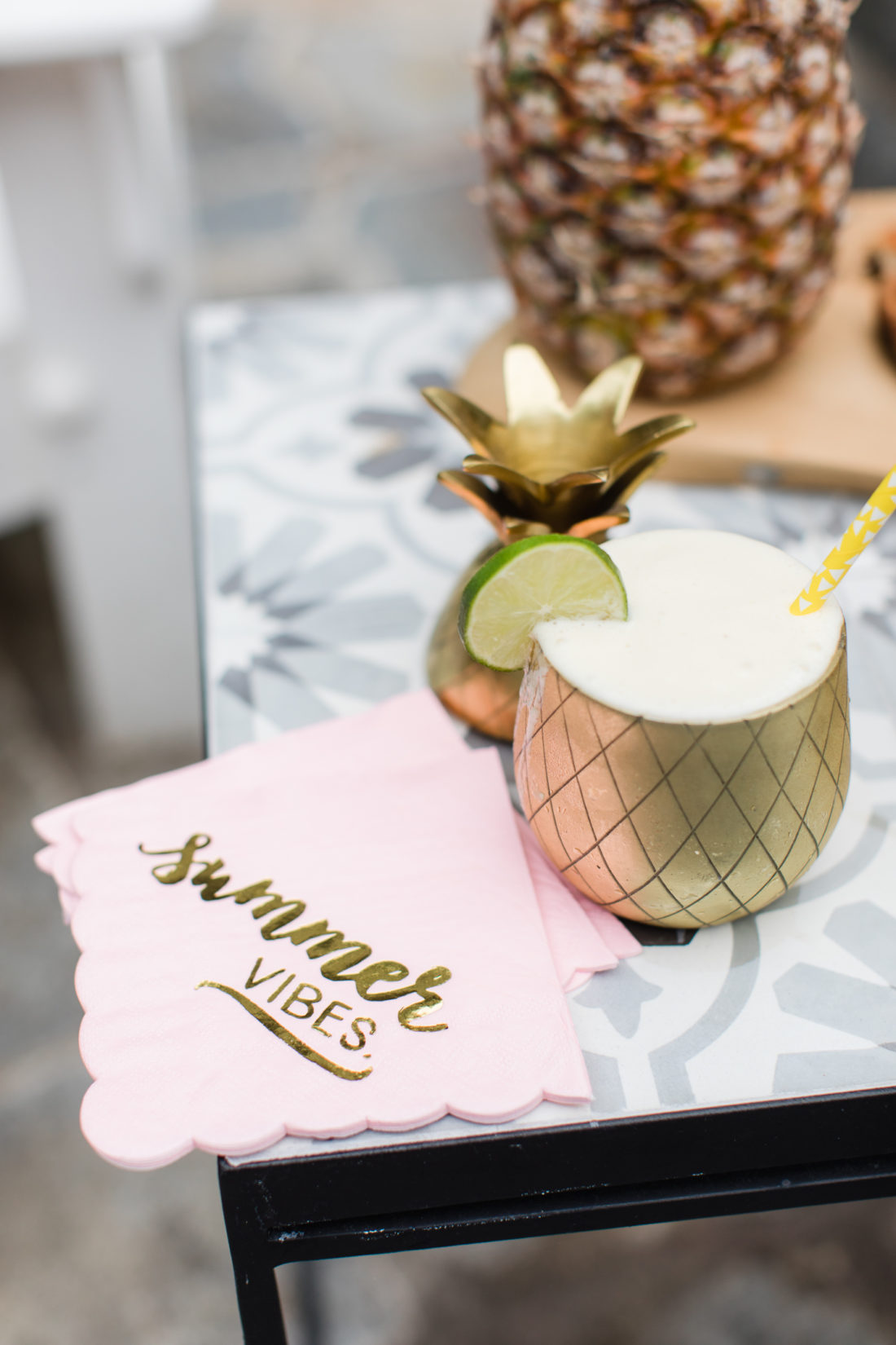 Eva Amurri Martino serves up a frozen pineapple daquiri at her Pineapple themed Happy Hour