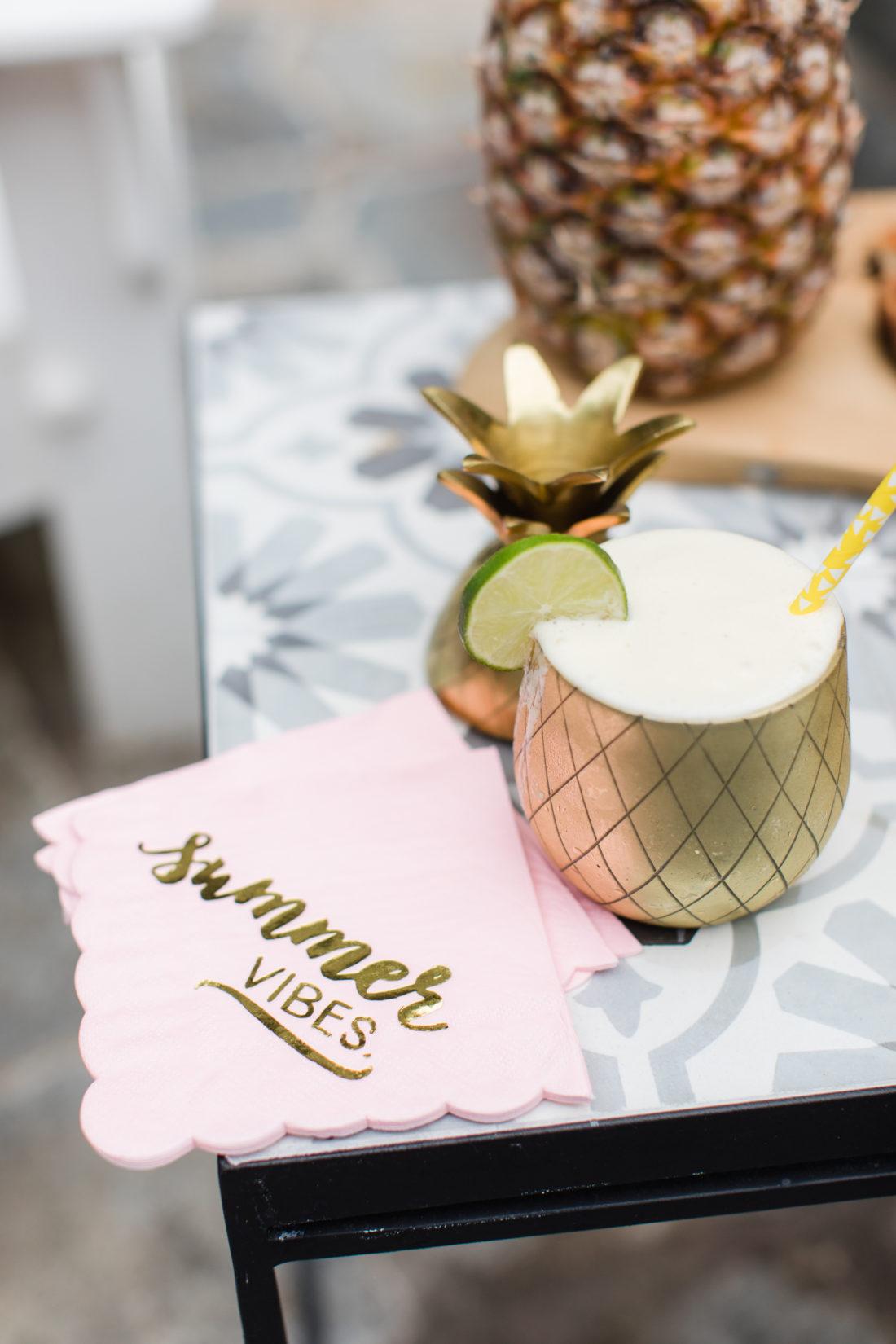 Eva Amurri Martino serves up a frozen pineapple daquiri at her Pineapple themed Happy Hour