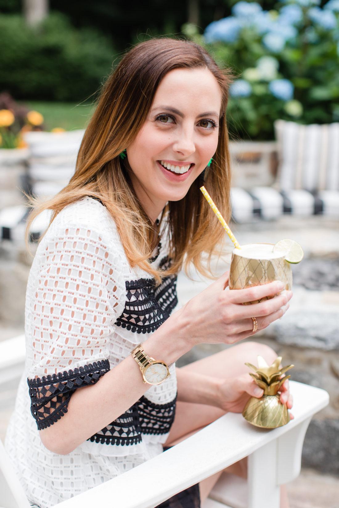 Eva Amurri Martino enjoys a frozen pineapple daquiri at her Pineapple themed Happy Hour