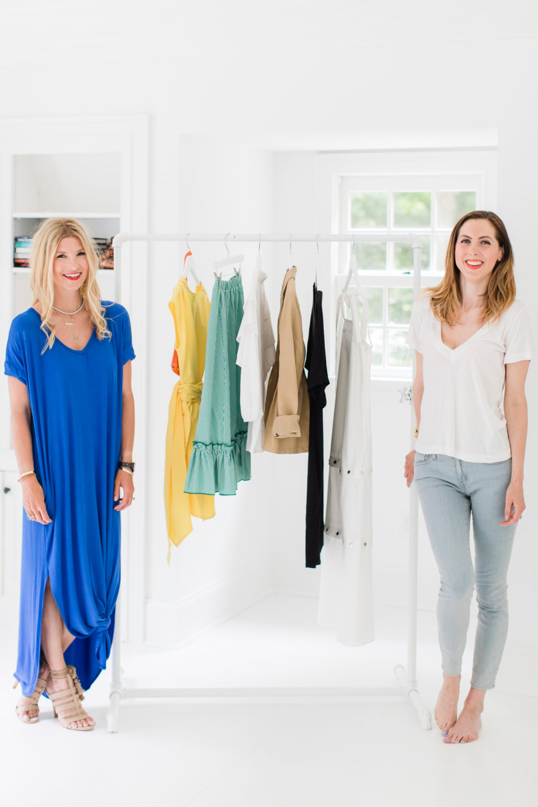 Eva Amurri Martino and Morgan Hutchinson display how to pack for a vacation with only six pieces of clothing