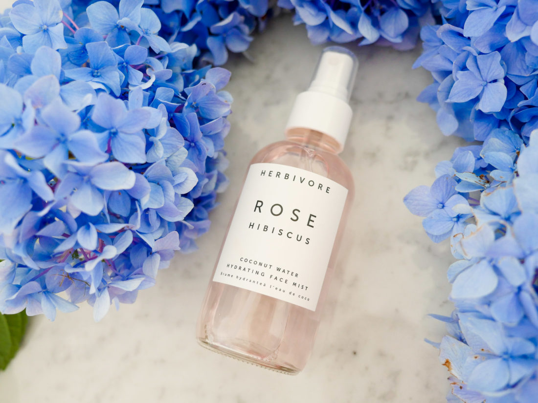 Eva Amurri Martino showcases Herbivore rose hibiscus hydrating facial spray as part of her monthly obsessions roundup