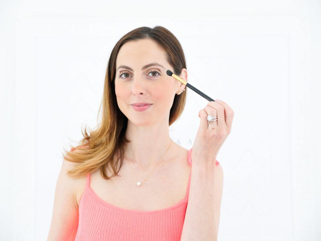 Eva Amurri Martino applies Benefit They're Real duo shadow blender to create a subtly smokey eye