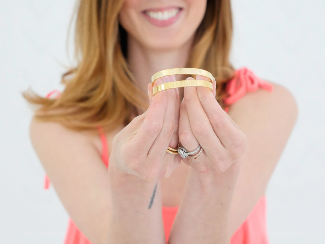 Eva Amurri Martino highlights Sarah Chloe customizeable bangles as part of her monthly obsessions roundup