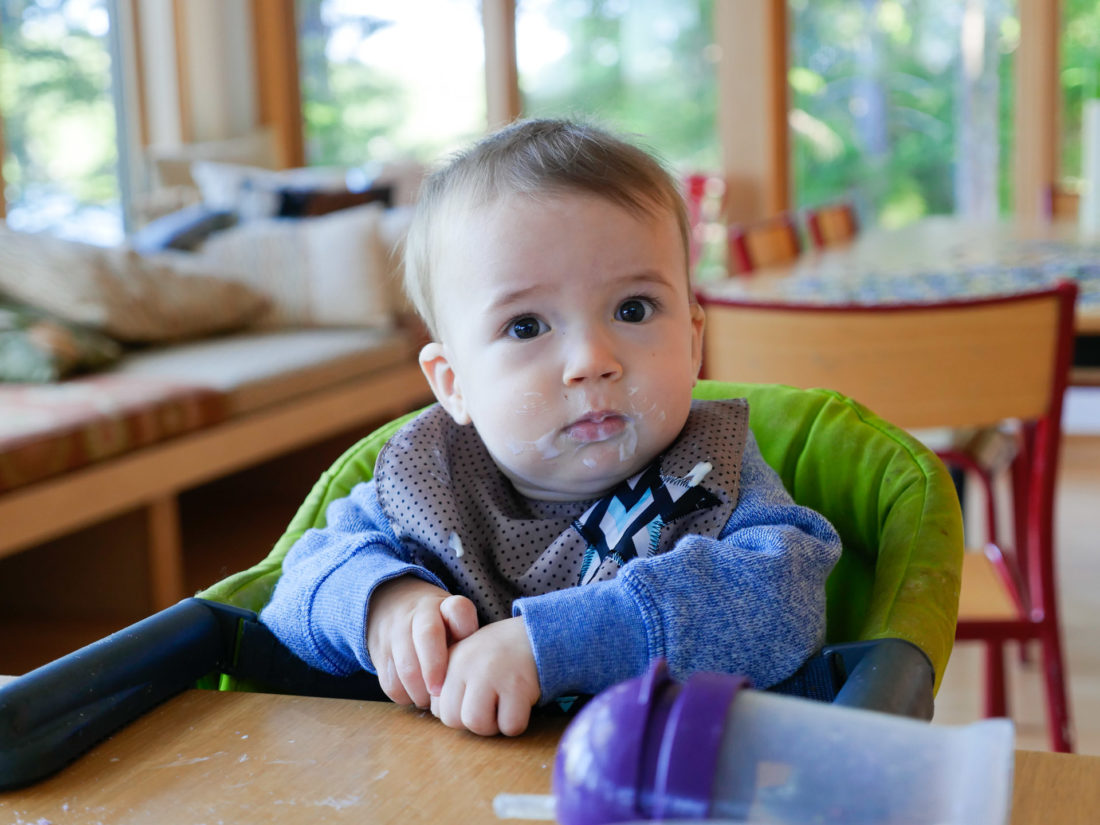 Major Martino sits in a portable high chair