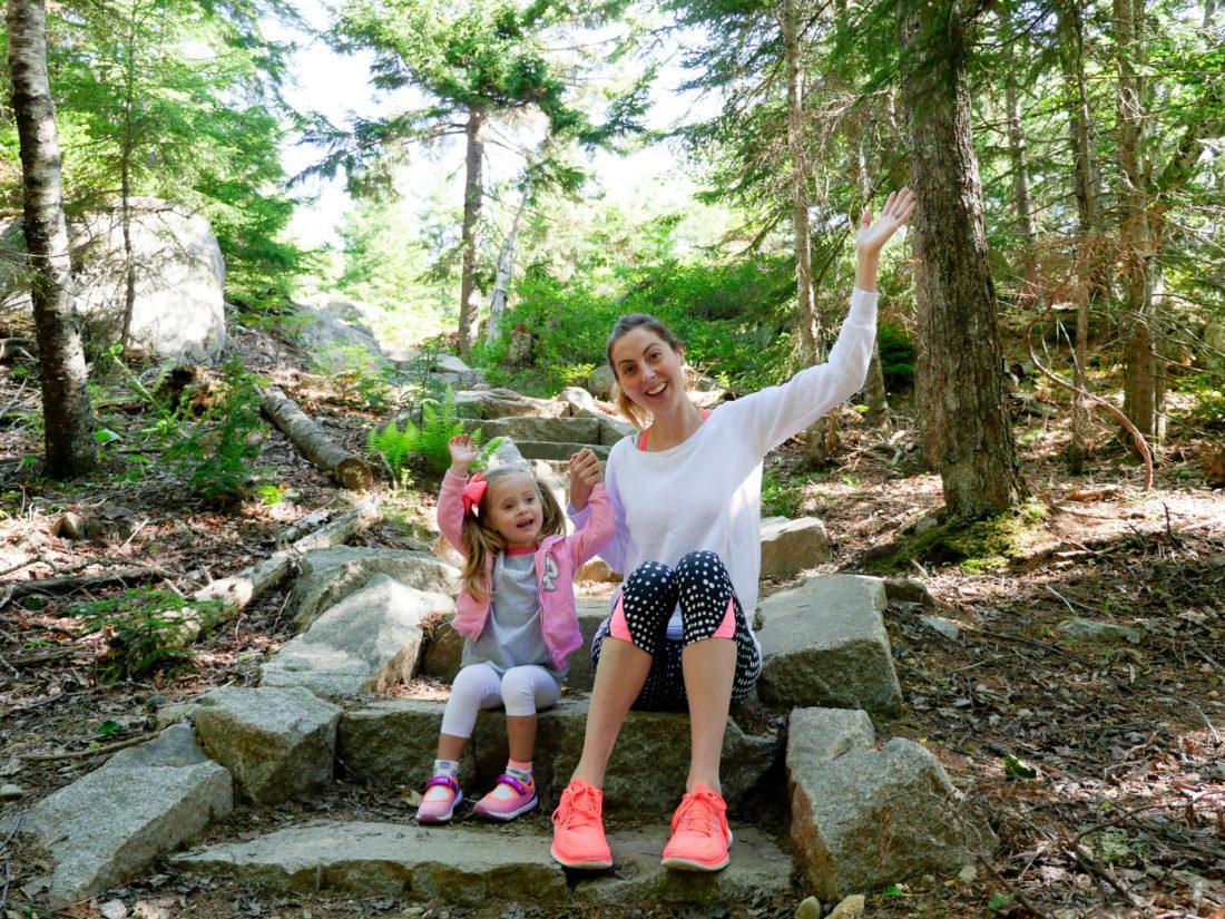 Eva Amurri Martino and Marlowe Martino set off on a hike in Acadia National park