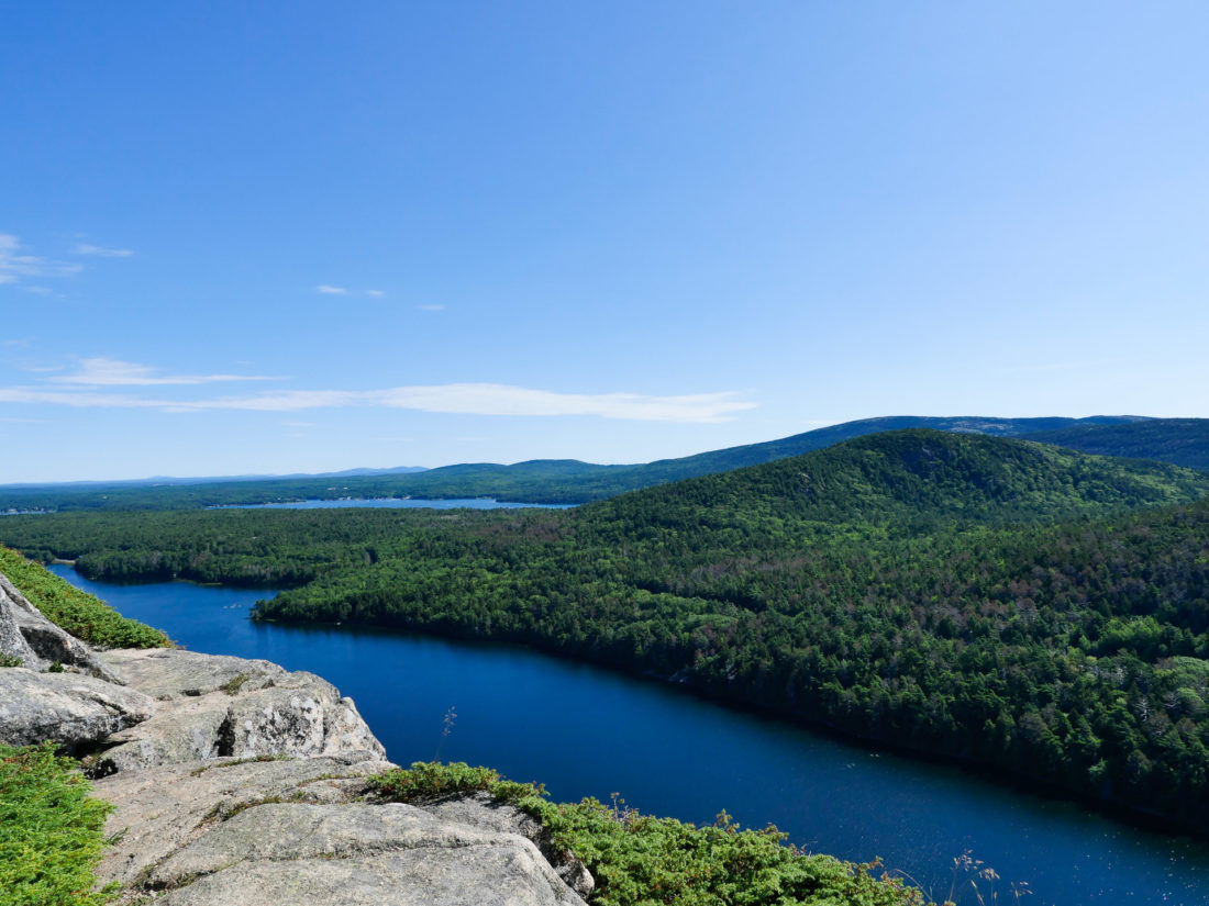 Kyle, Eva, Marlowe, and Major Martino pause at a scenic overlook while on a hike in Bar Harbor Maine