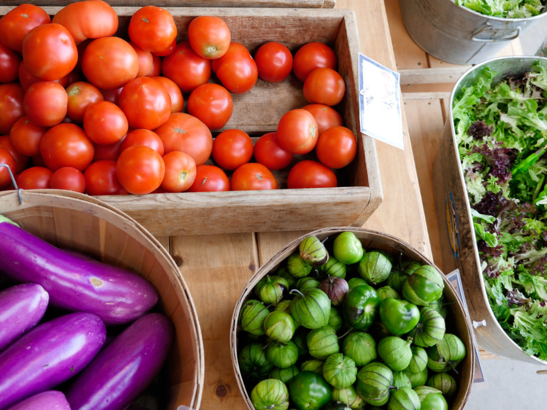 Colorful produce at Beech Hill Farm in Maine