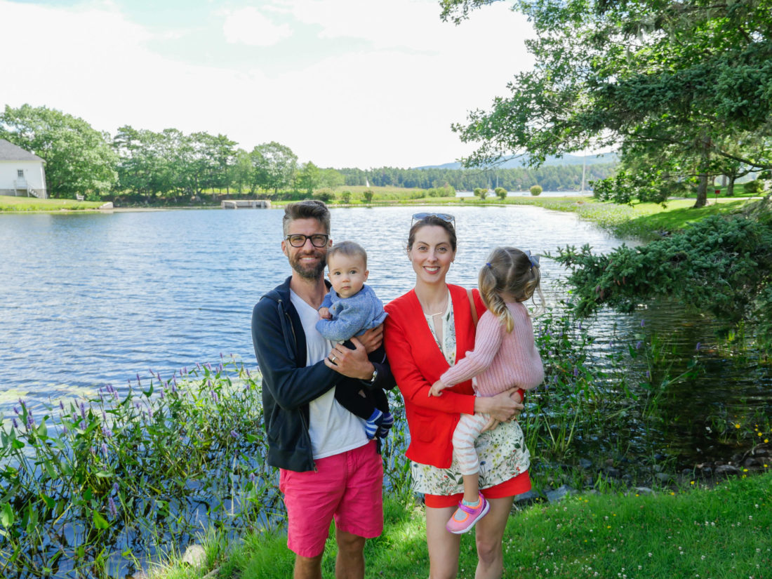 Eva Amurri Martino, Kyle Martin, and Marlowe and Major Martino stand together in front of a lake in Bar Harbor, Maine