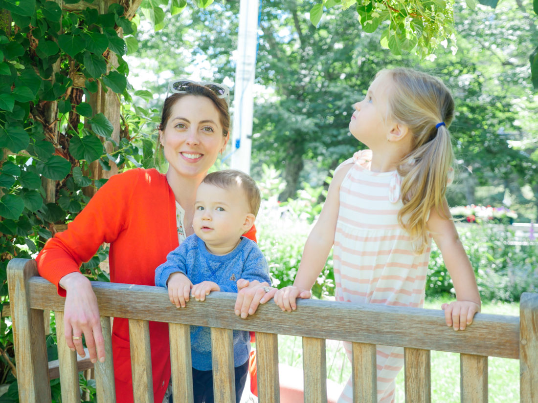 Eva Amurri Martino sits on a bench with daughter marlowe and son Major in Bar Harbor Maine