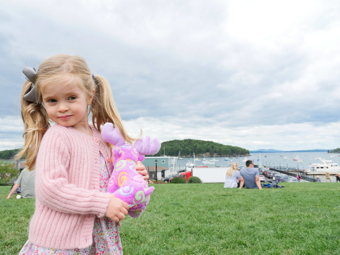 Marlowe Martino plays on the green in downtown Bar Harbor