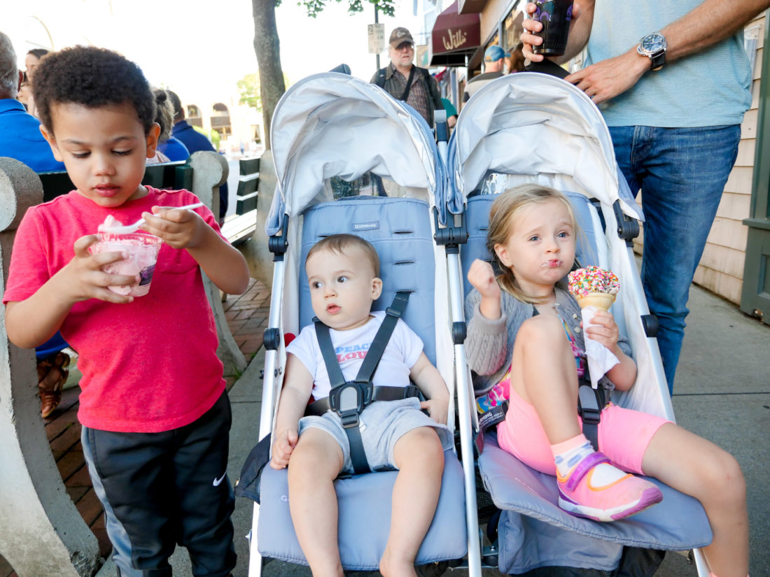 Marlowe and Major Martino sit in the stroller through downtown Bar Harbor while eating ice cream cones