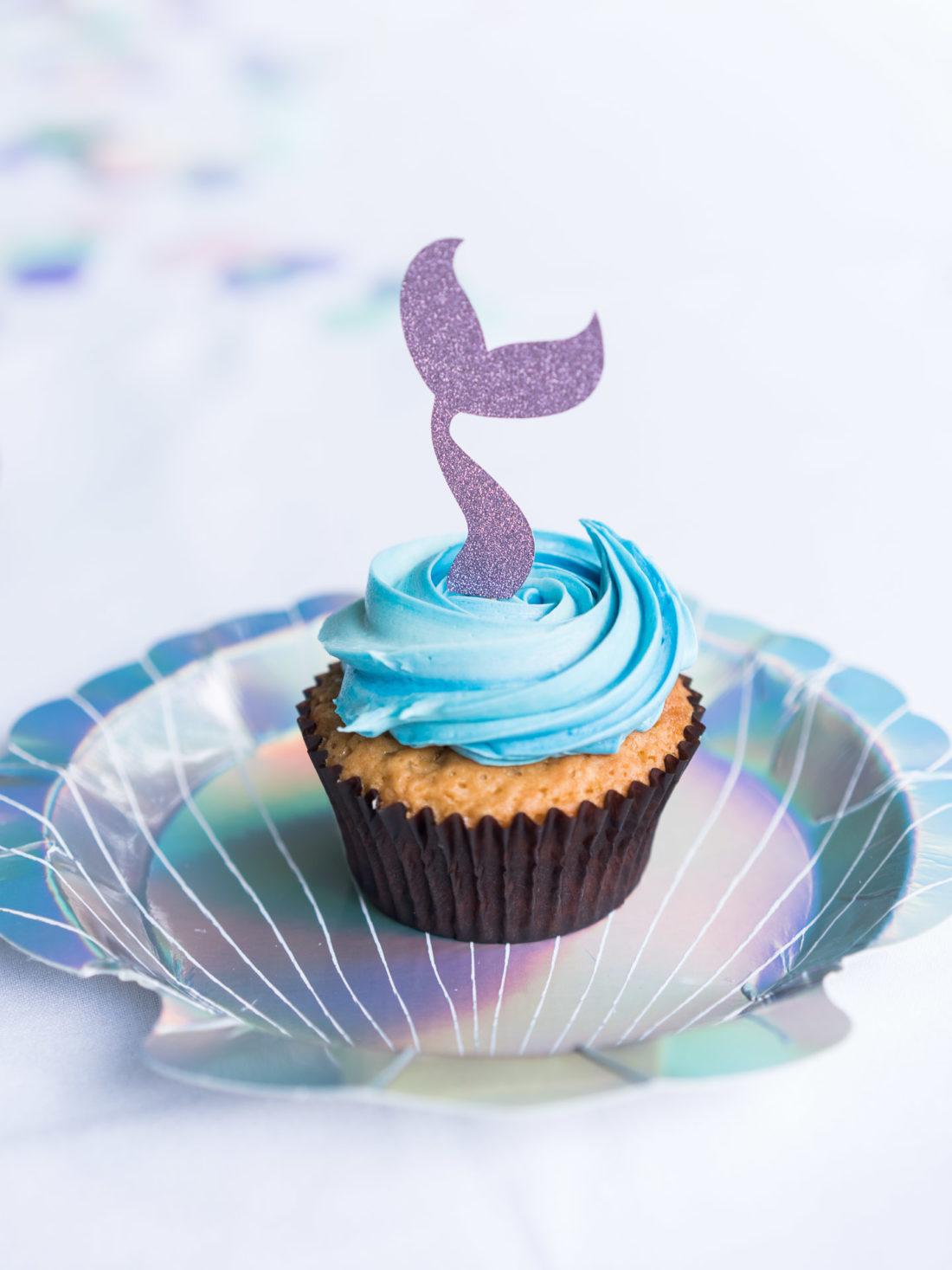A mermaid themed cupcake at Marlowe Martino's third birthday party