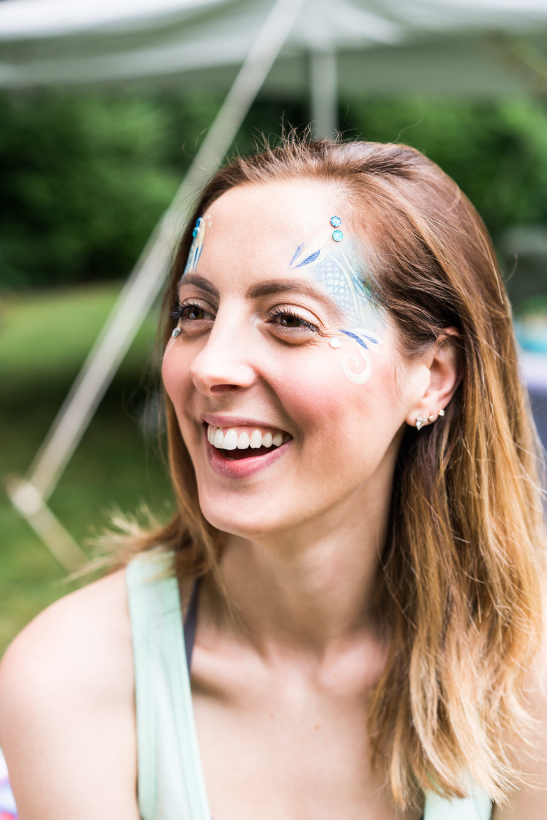 Eva Amurri Martino gets her face painted like a mermaid at her daughter Marlowe's third birthday party