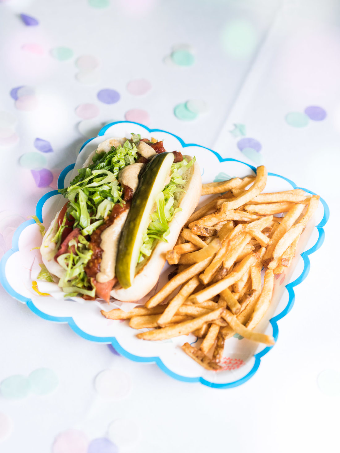 guests enjoy hot dogs and fries at Marlowe Martino's third birthday party