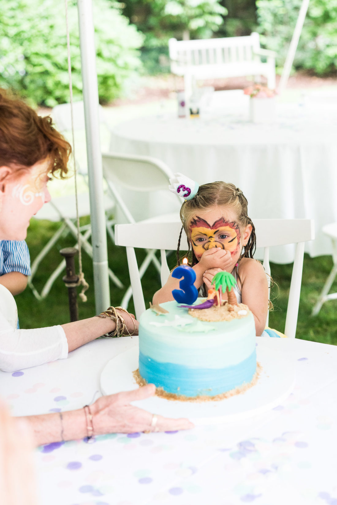 Guests sing happy birthday to Marlowe Martino at her third birthday party