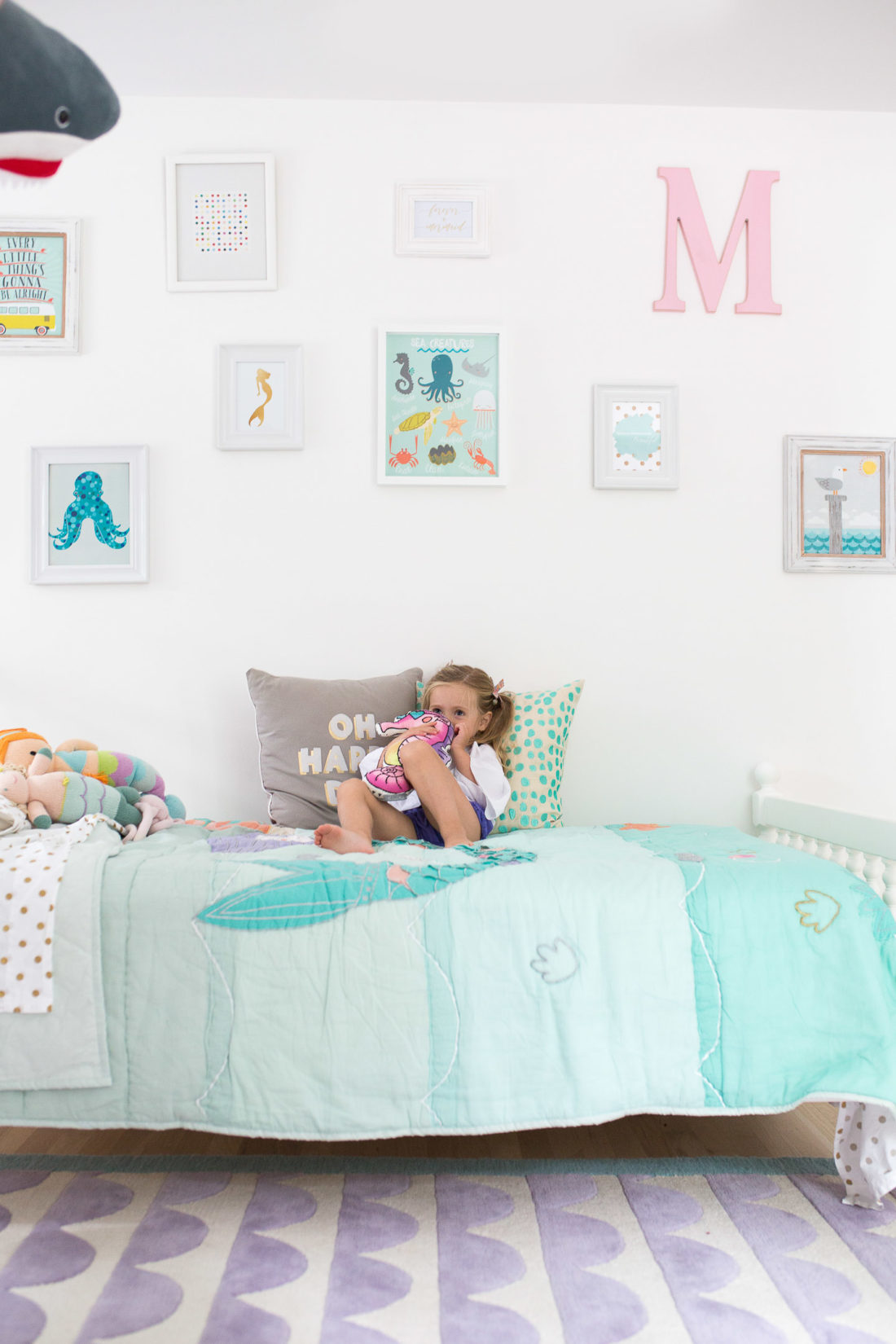 Eva Amurri Martino shares the new design of her three year old daughter's Connecticut mermaid bedroom with the added big girl bed instead of a crib