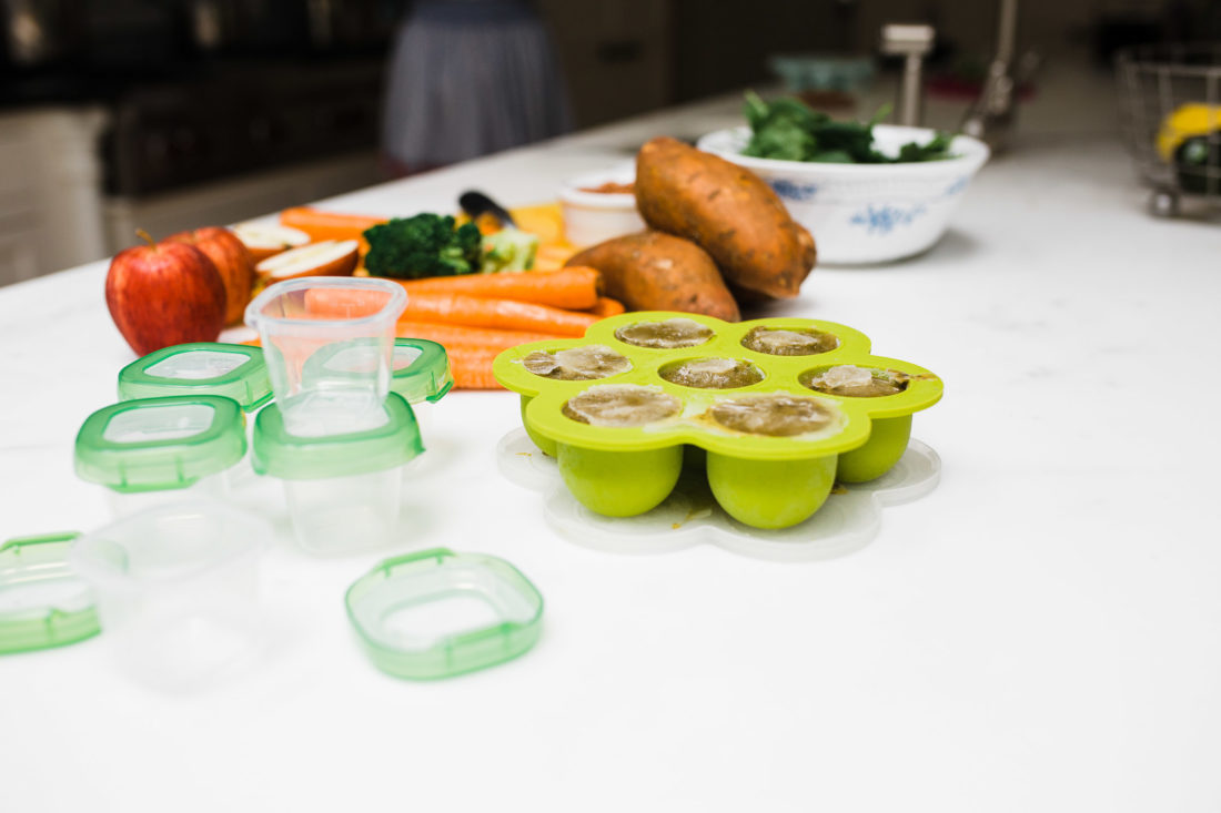 Eva Amurri Martino stores homemade baby food in silicone and bpa free plastic containers