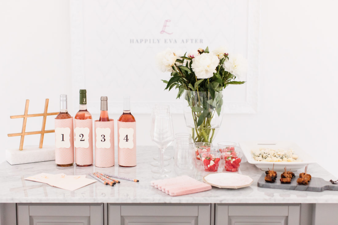 A blush, brass, and marble Rosé tasting party at Eva Amurri Martino's Connecticut home
