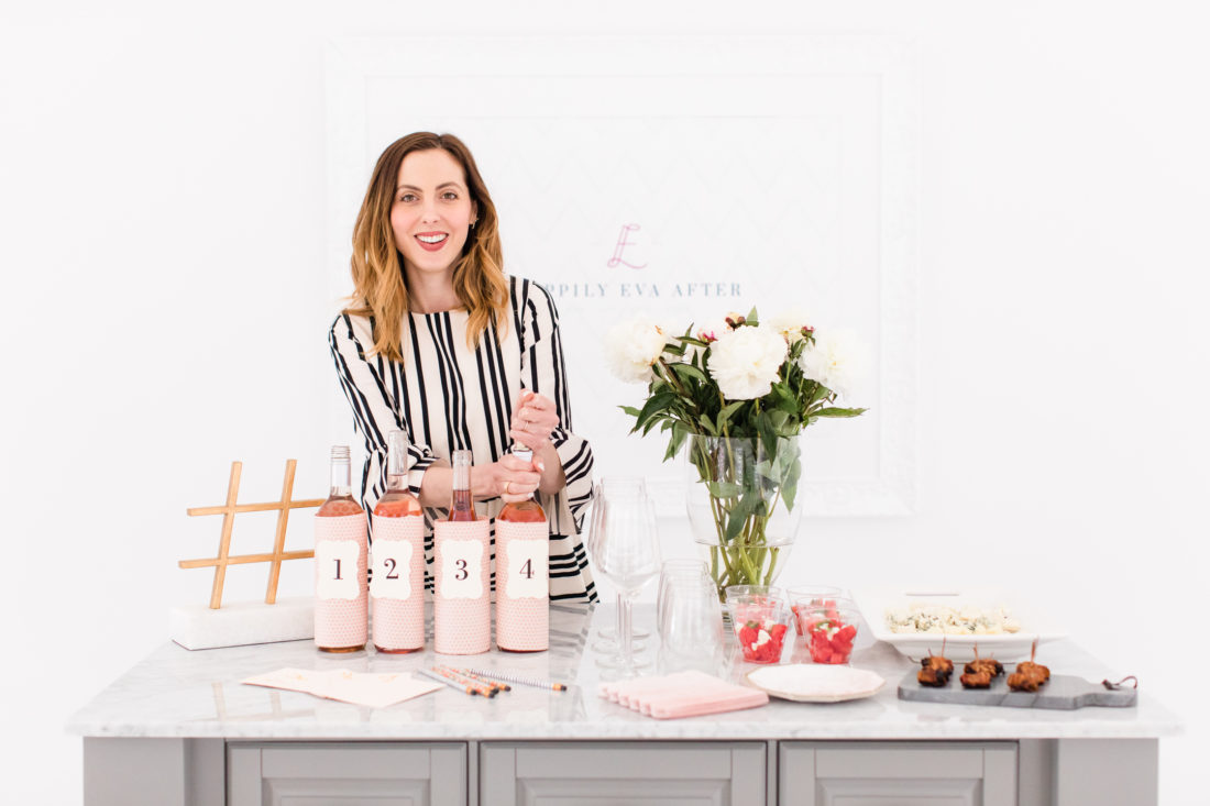 Eva Amurri Martino wears a blac and white striped Fall dress and hosts a Rosé tasting party at her Connecticut home