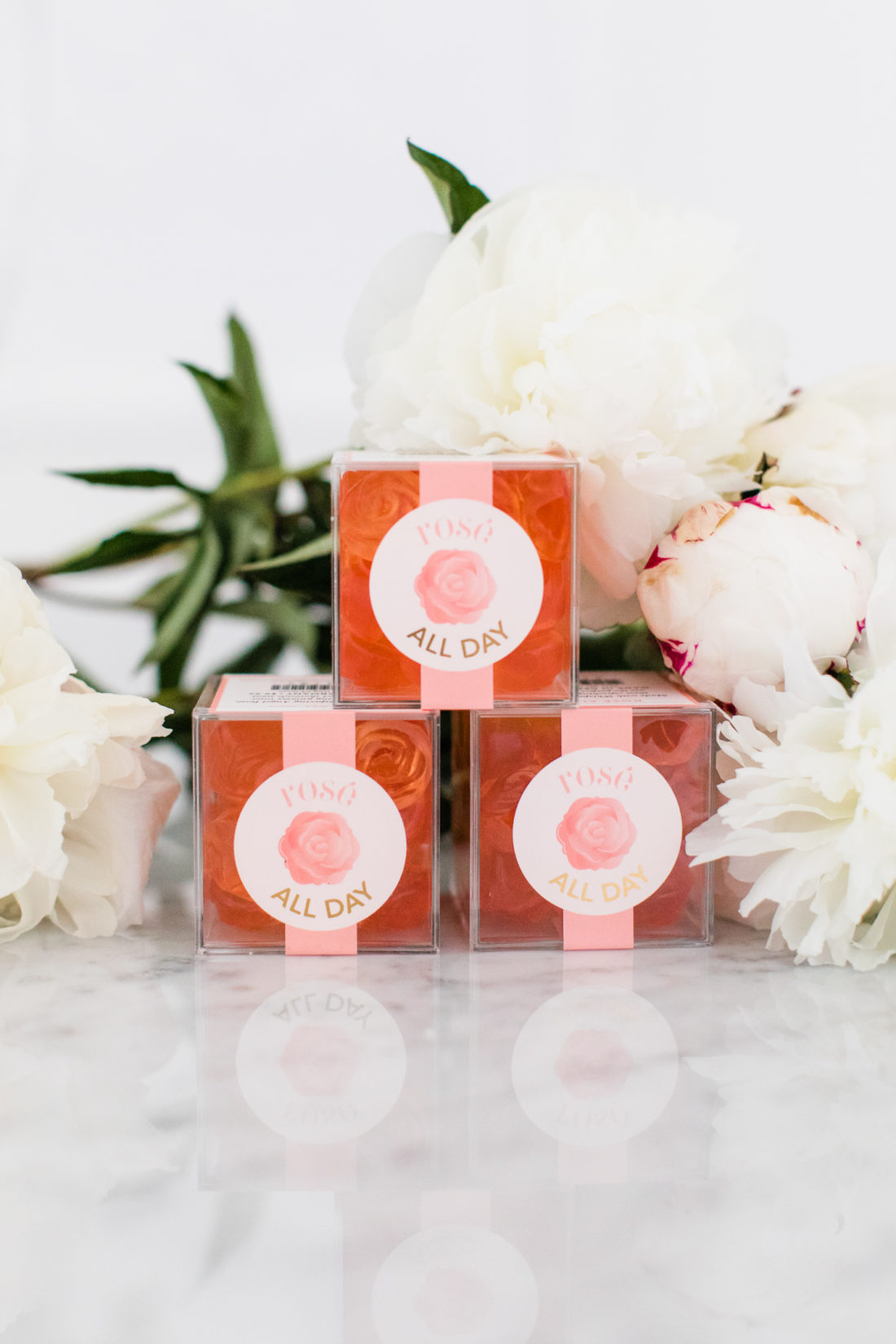Rosé gummy favors are offered to guests as a parting gift after Eva Amurri Martino's Rosé Tasting party at her Connecticut home
