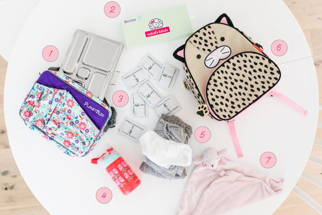 An assortment of Eva Amurri Martino's back to school essentials for three year old daughter Marlowe