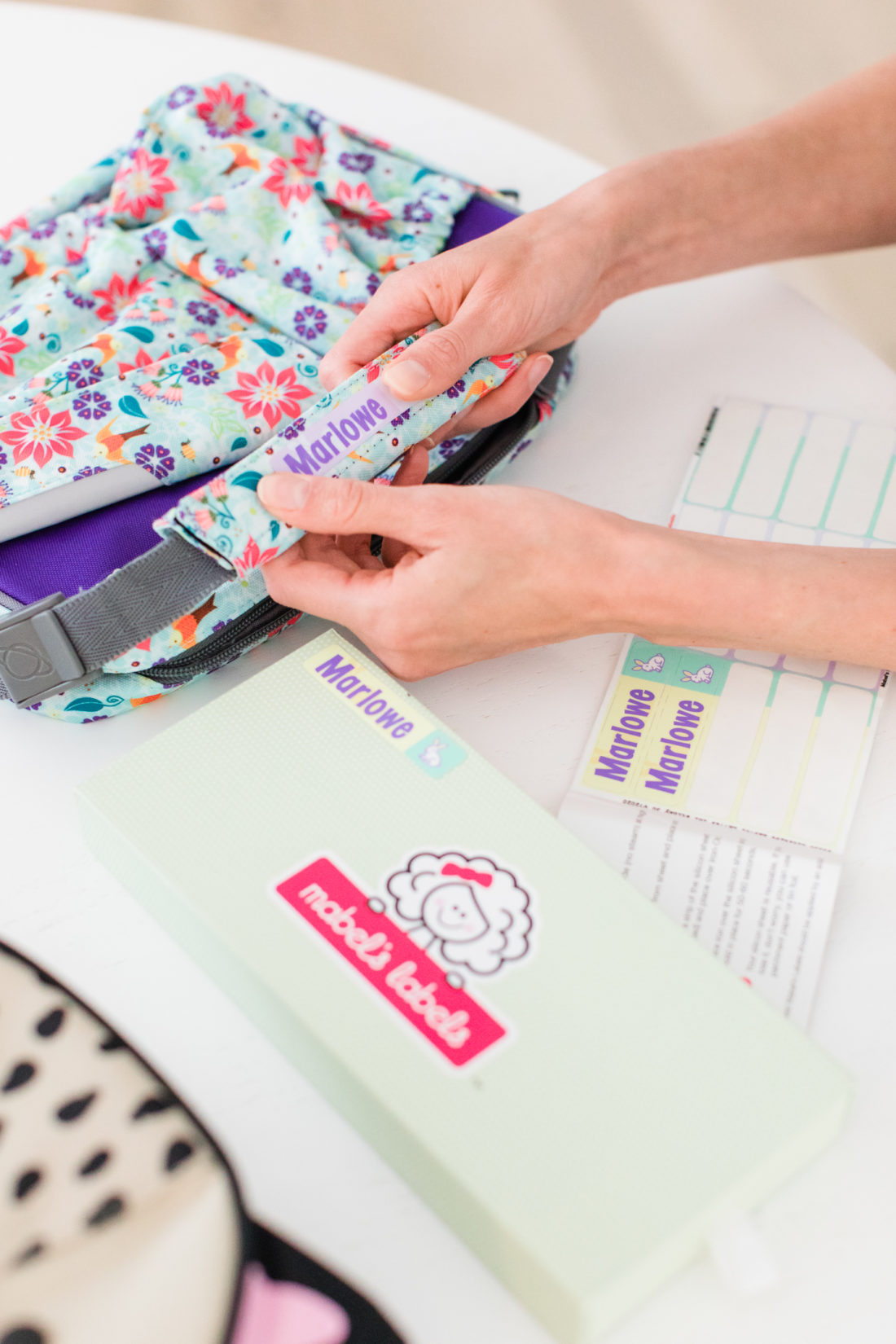 Eva Amurri Martino labels three year old daughter Marlowe's flowered school lunch box
