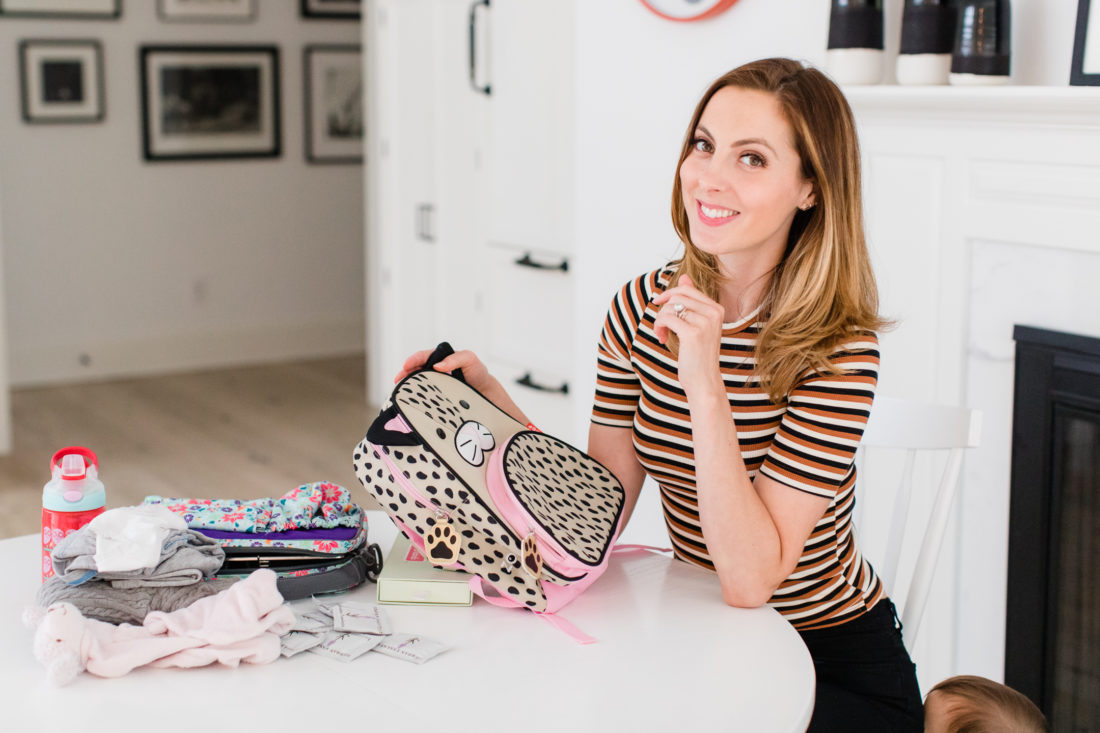Eva Amurri Martino sits at the kitchen table in her Connecticut home and prepares daughter Marlowe for her first day of Preschool