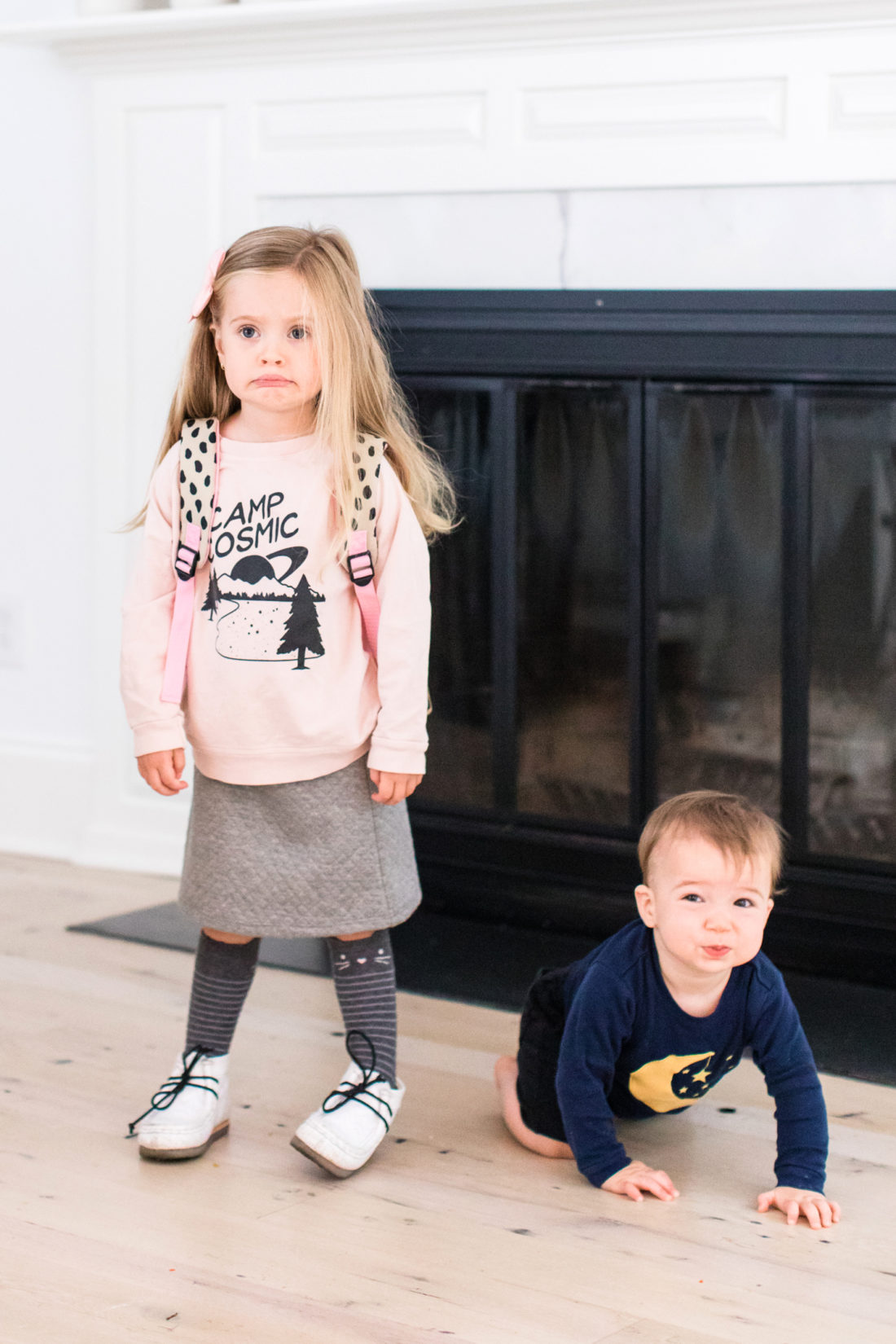 Marlowe and Major Martino stand in the kitchen of their Connecticut home as Marlowe prepares to head out to the first day of Preschool