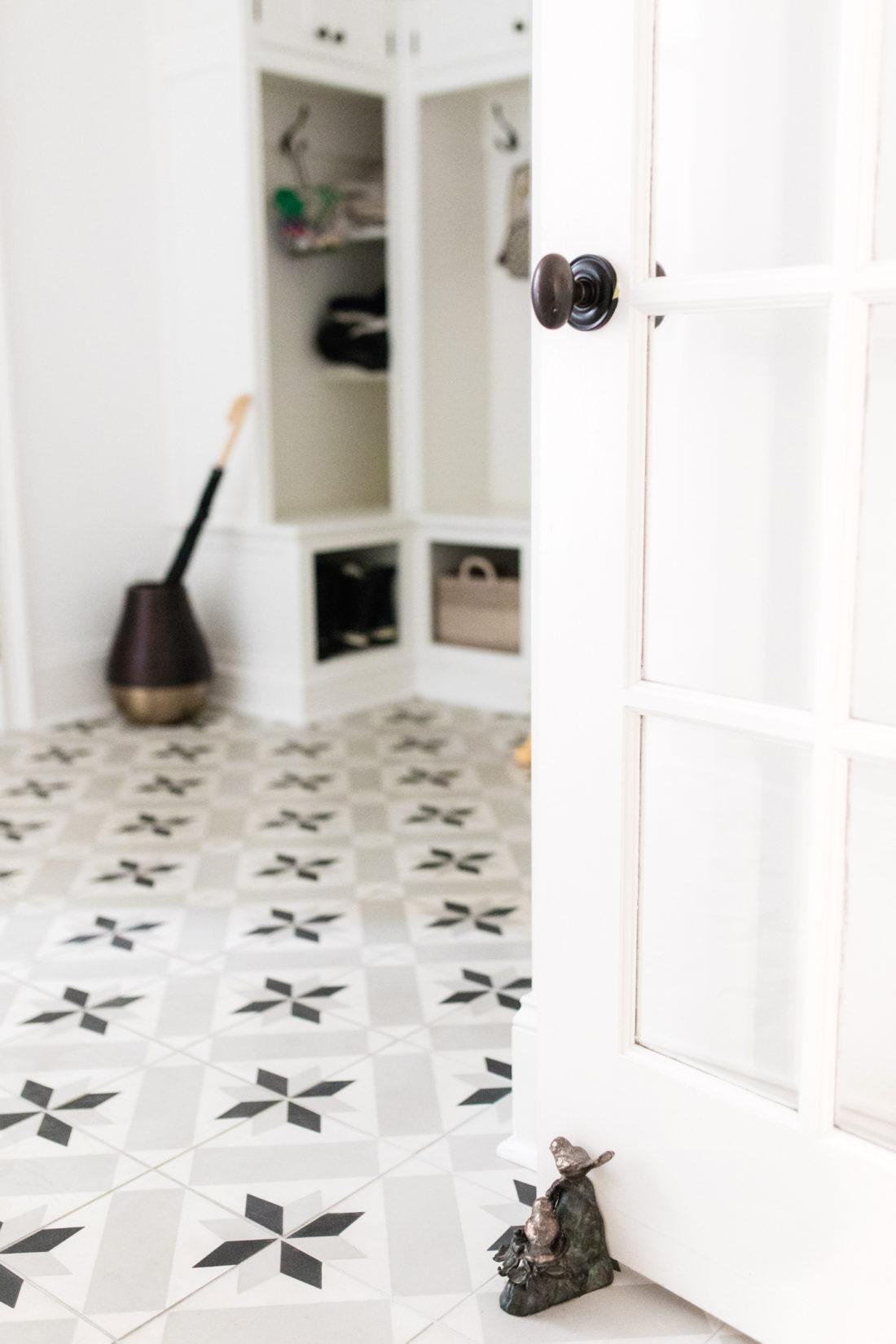 The black and white mud room of Eva Amurri Martino's Connecticut home