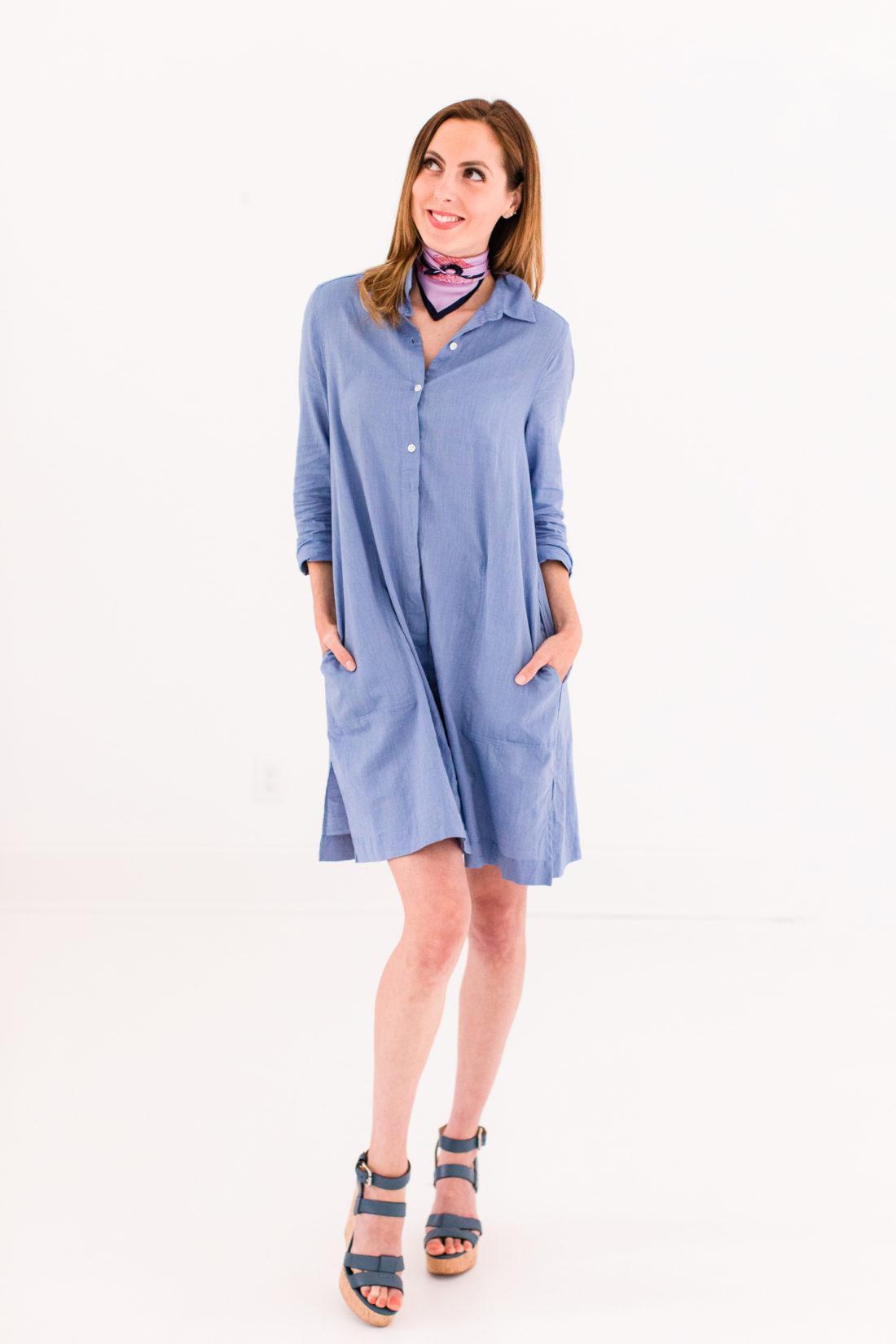 Eva Amurri Martino wears a light blue shirtdress and a silk scarf bandana tied around her neck