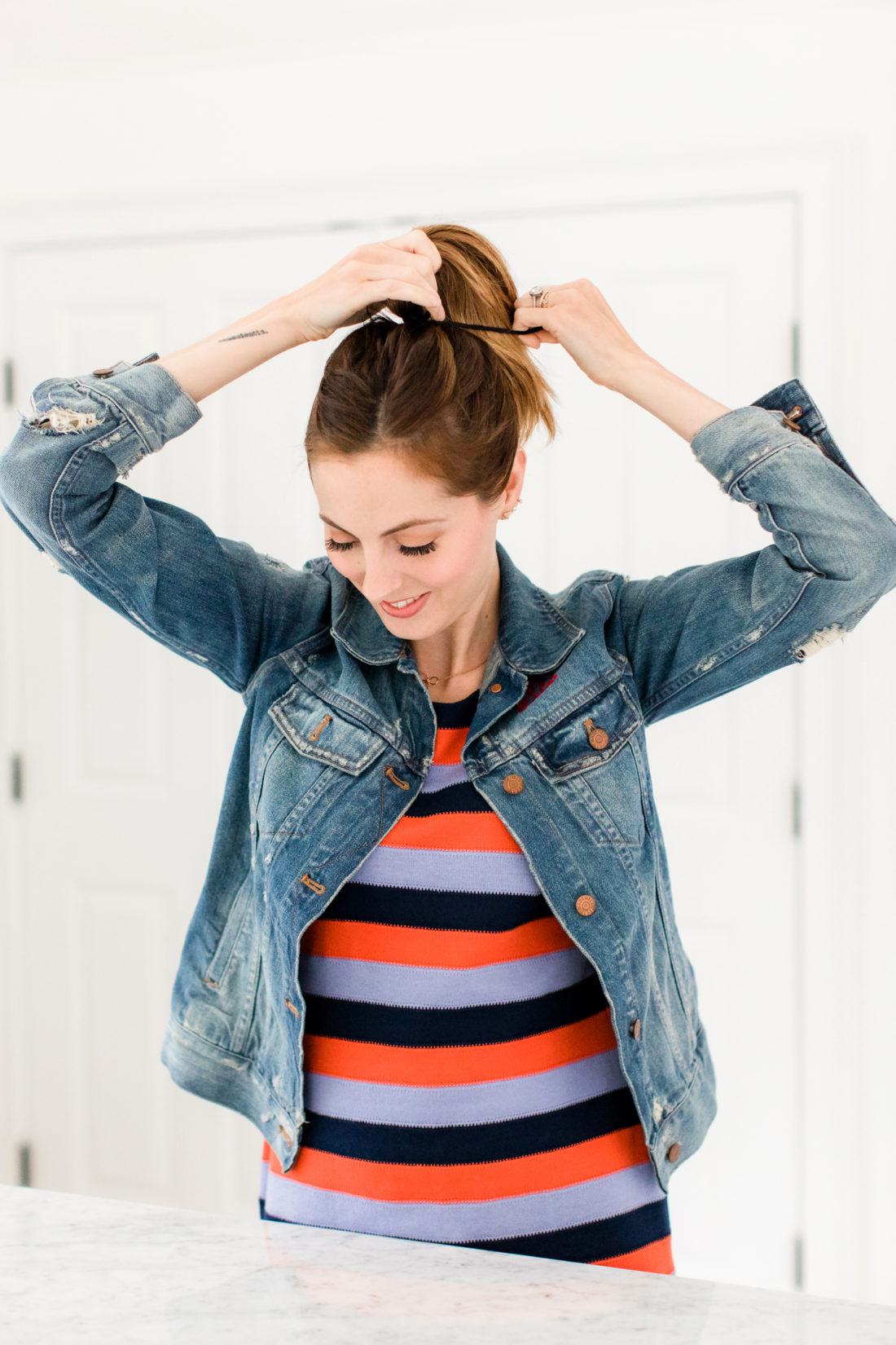 Eva Amurri Martino puts her hair up in to a high bun