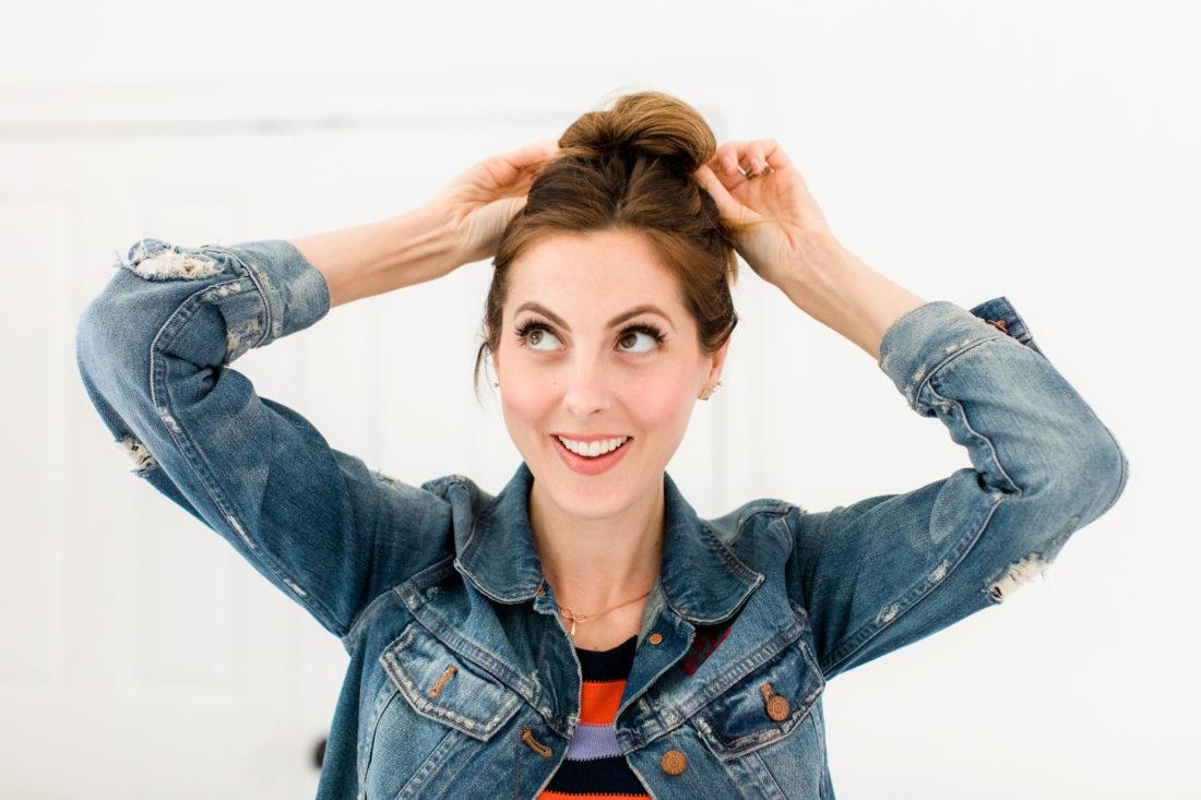 Eva Amurri Martino puts her hair up in to a high bun