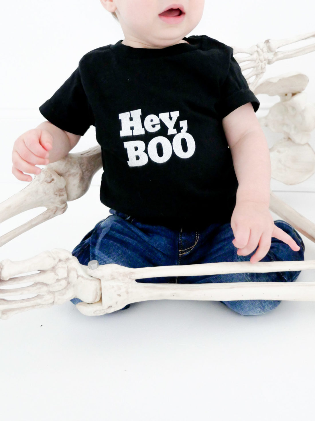 Major Martino wears a custom tee shirt designed using The Happily App for Halloween