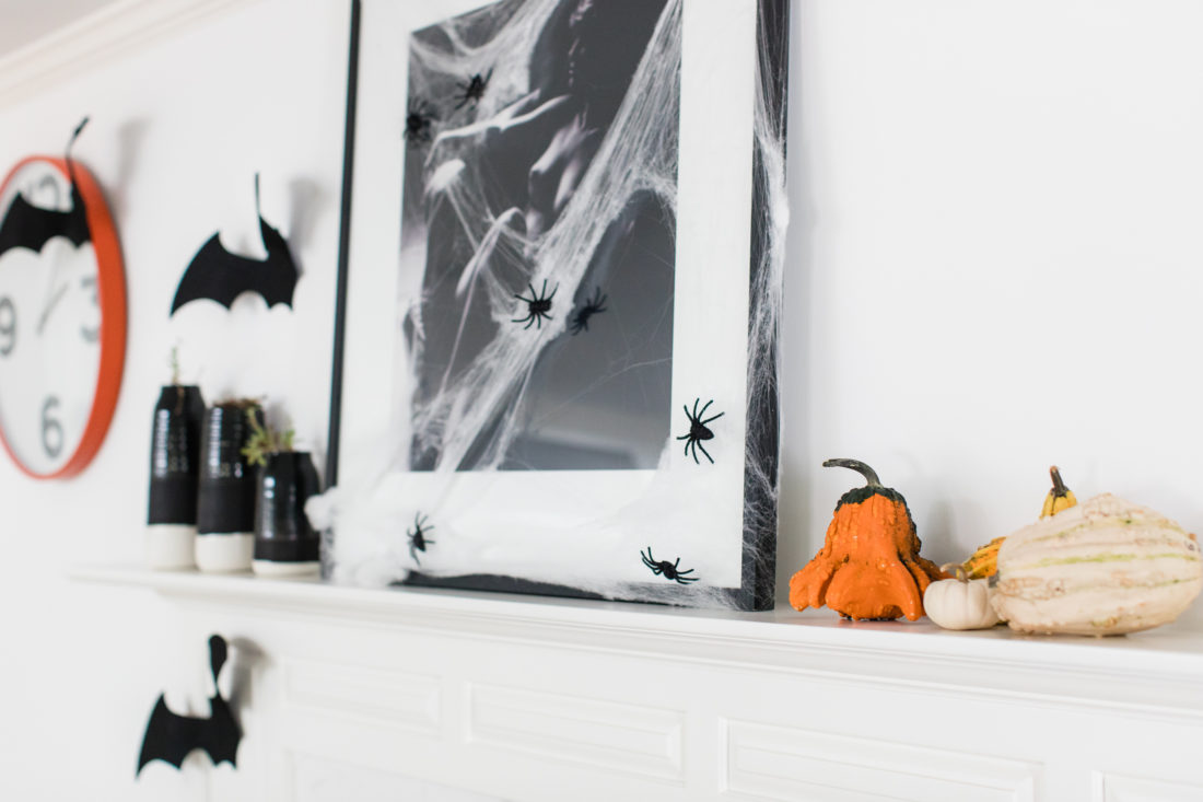 The kitchen area is decorated in a spooky bat theme for Halloween in Eva Amurri Martino's Connecticut home