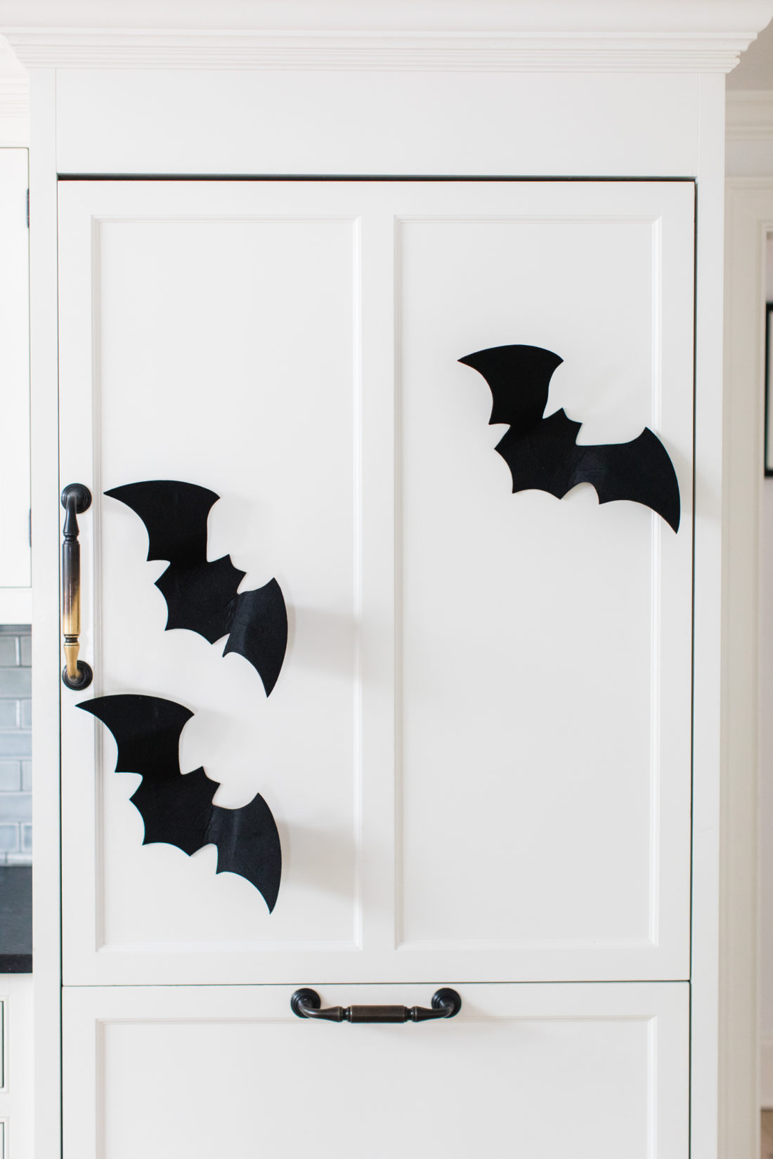 Felt bats land on the refrigerator in Eva Amurri Martino's Connnecticut kitchen