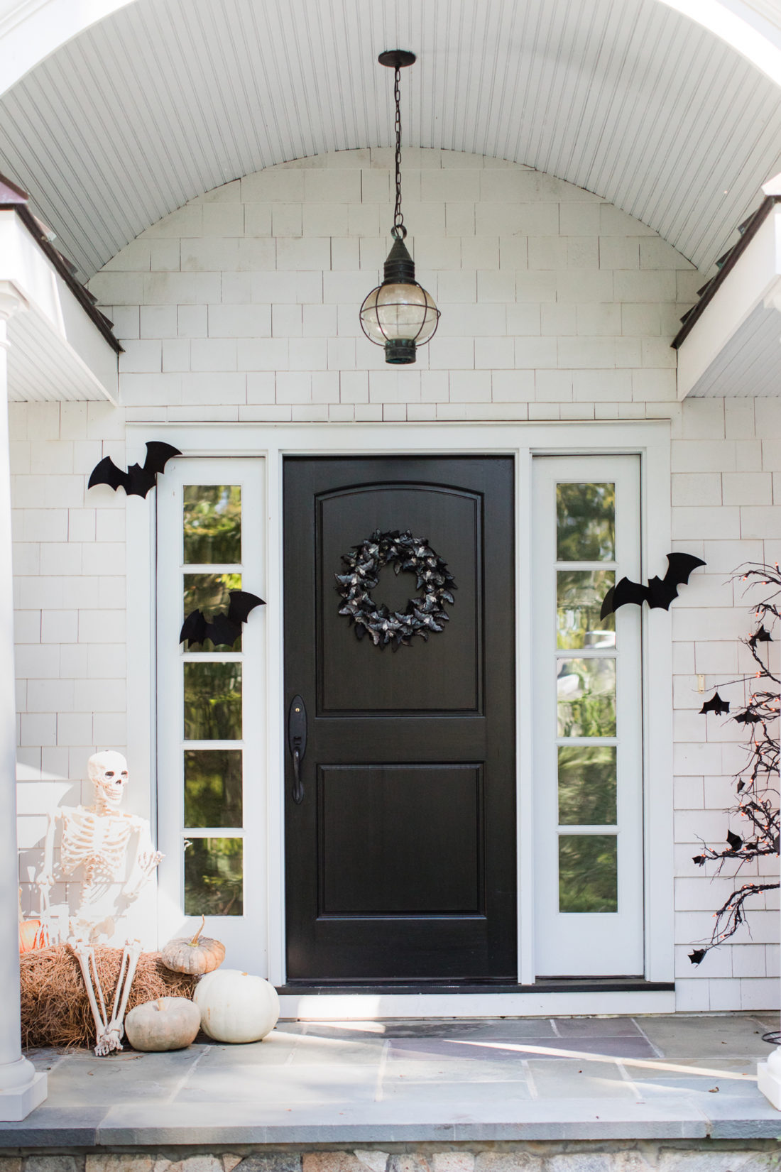 the spooky bat themed entryway to Eva Amurri Martino's Connecticut Home that is decorated for Halloween