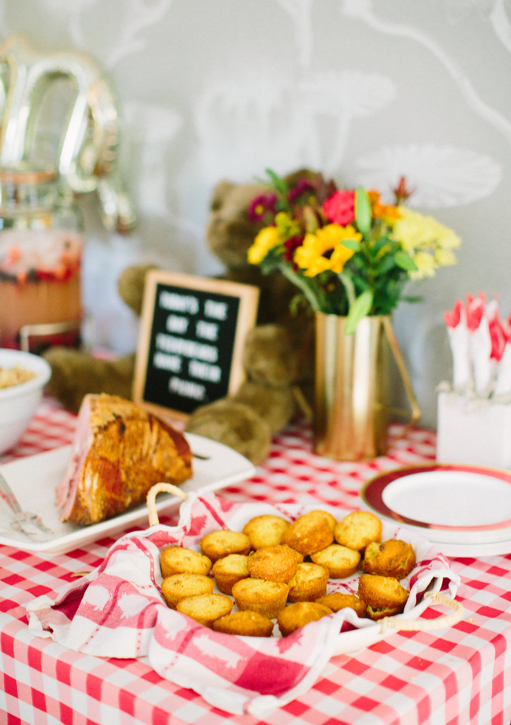 Cornbread muffins on the buffet at Major Martino's first birthday party