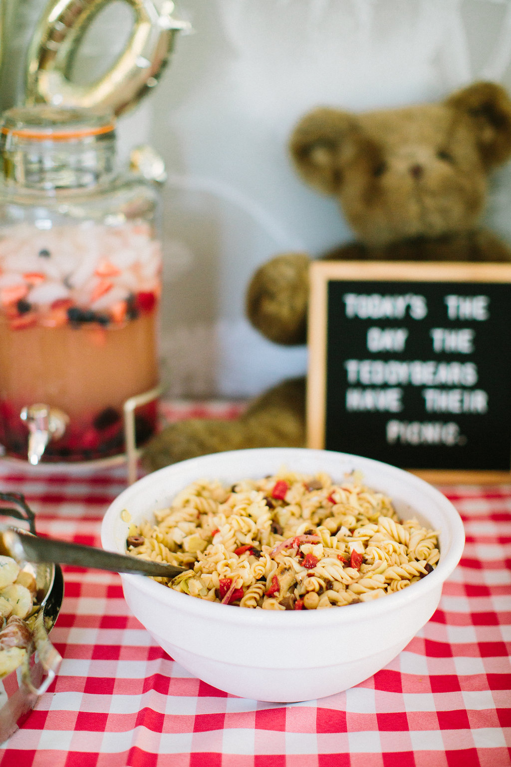 Pasta salad on the buffet at Major Martino's first birthday party