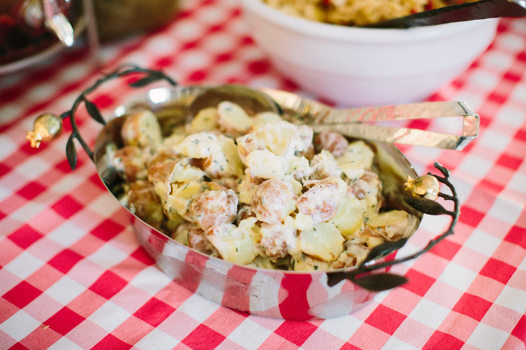 potato salad on the buffet at Major Martino's first birthday party