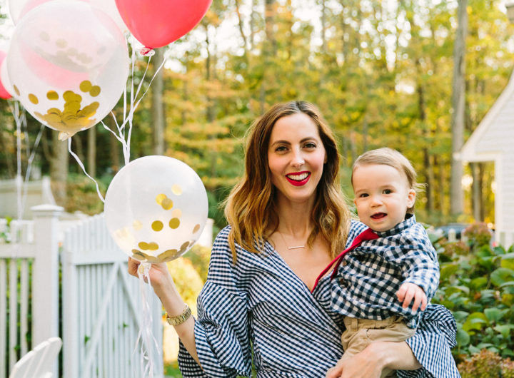 Eva Amurri Martino holds one year old son Major as they celebrate his first birthday with a teddy bear picnic themed party