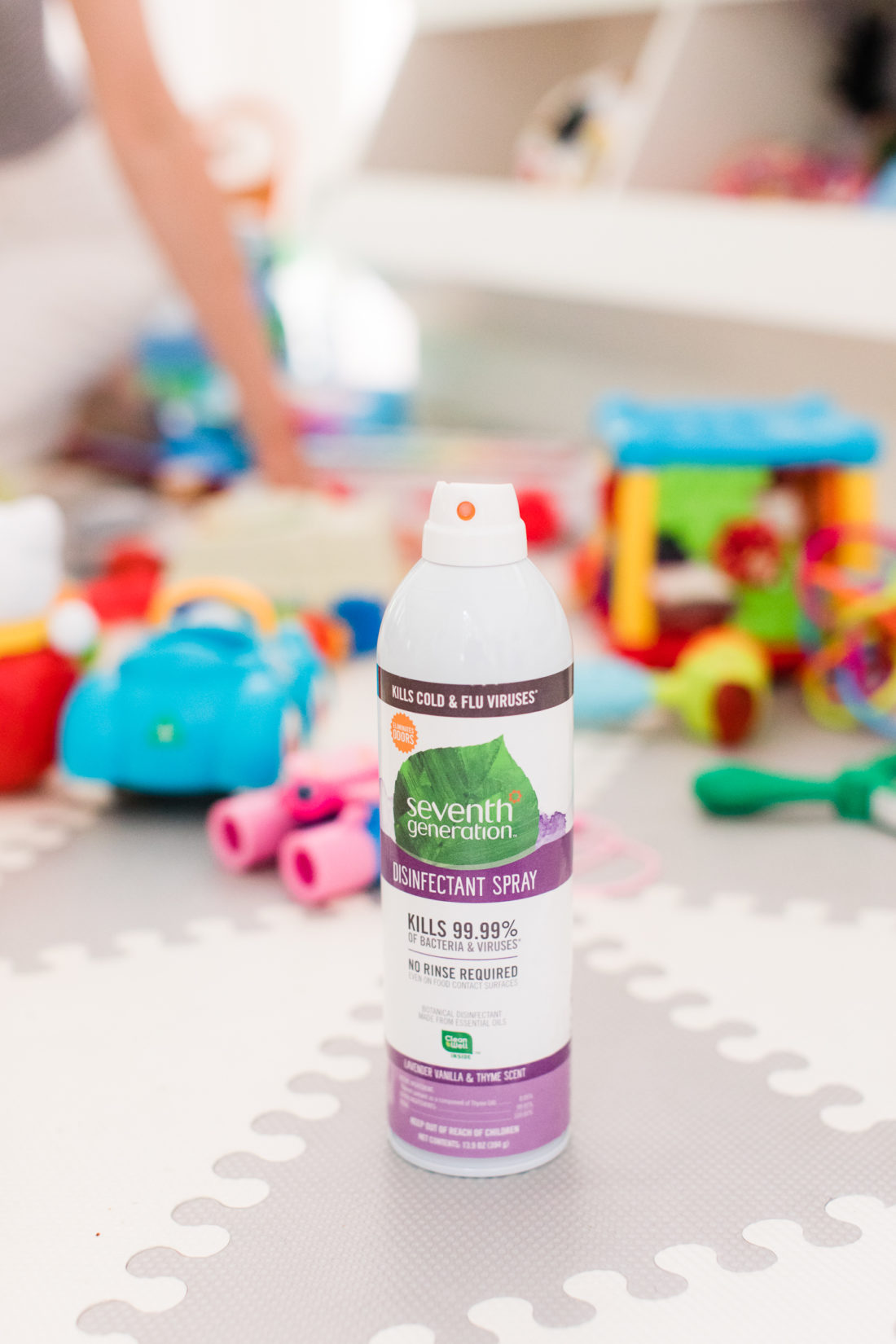 Seventh generation disinfecting spray sits in the play area of Eva Amurri Martino's Connecticut home
