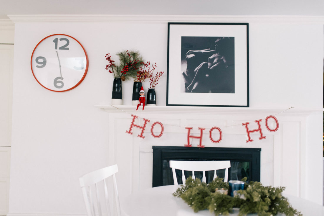 The kitchen table in Eva Amurri Martino's Connecticut home is decorated for the holidays and features an elf on the shelf