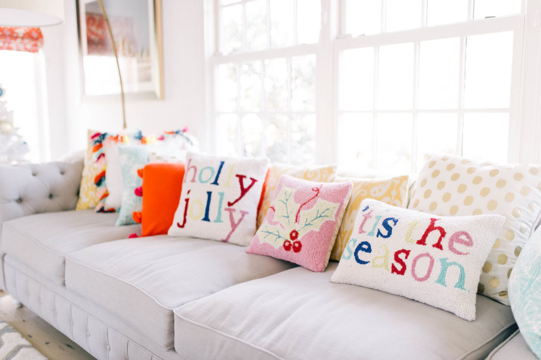 festive holiday pillows on the couch of Eva Amurri Martino's connecticut home